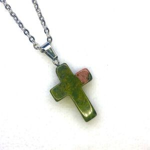 Nevada Lapis Cross Stainless Steel Necklace NWT